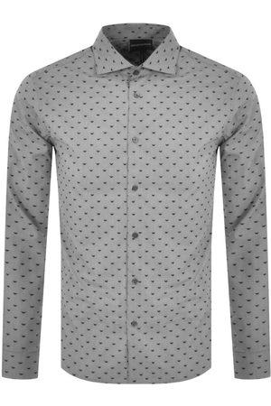 Armani Men Long sleeves - Emporio Logo Long Sleeve Shirt Grey