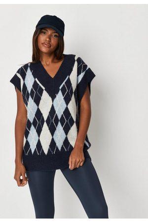 Missguided Petite Argyle Knit Tank Sweater