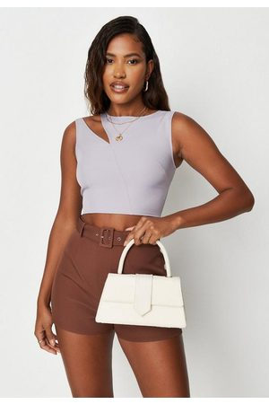 Missguided Women Tank Tops - Lilac Cut Out Detail Crop Tank Top