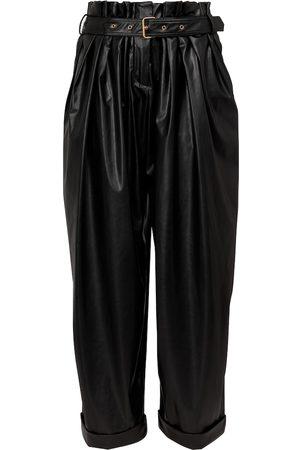 Balmain High-rise faux leather paperbag pants