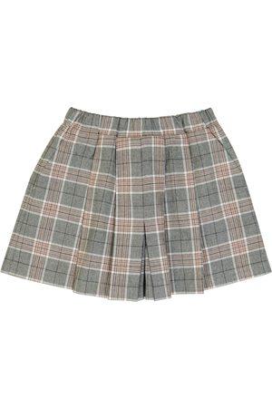 PAADE Kids Skorts - Checked cotton and cashmere skort