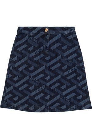 VERSACE Kids Denim Skirts - La Greca denim skirt
