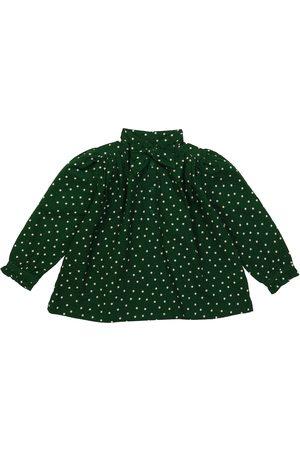 Caramel Folsom polka-dot cotton blouse