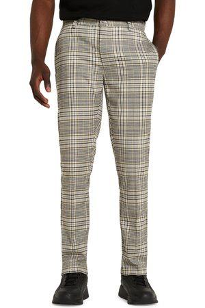River Island Men's Slim Fit Flat Front Glen Plaid Dress Pants