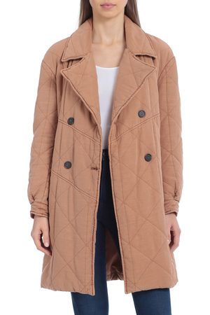 AVEC LES FILLES Women's Quilted Double Breasted Peacoat