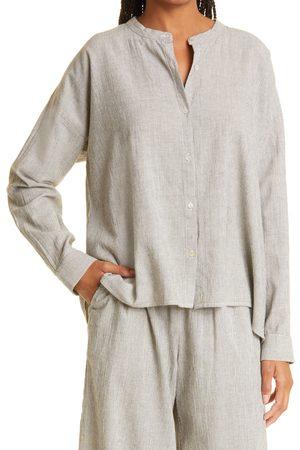 Eileen Fisher Women's Women's Stripe Organic Cotton Blend Button-Up Box Top