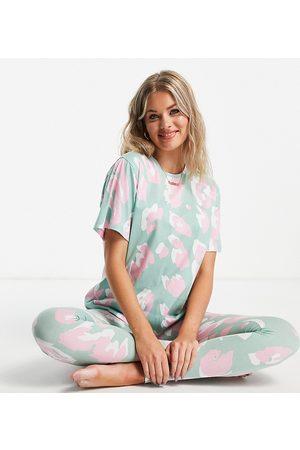 ASOS ASOS DESIGN Tall oversized animal tee & legging jersey pajama set in sage
