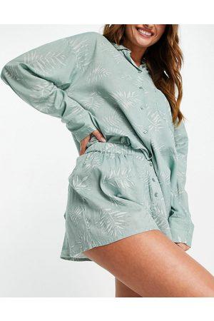 Topshop Women Pajamas - Fern print shirt & short pj set in sage