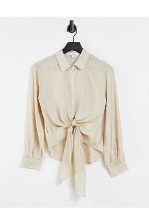 Emory Park Women Shirts - Relaxed shirt with tie front in texture-Neutral