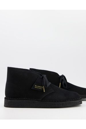 Clarks Men Lace-up Boots - Desert coal boots in suede