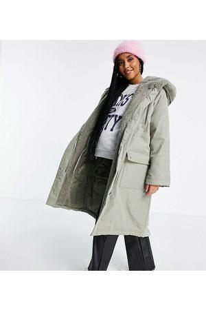 ASOS ASOS DESIGN Maternity waterfall parka coat in khaki-Grey