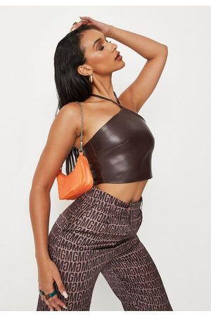 Missguided Chocolate Faux Leather Halterneck Crop Top