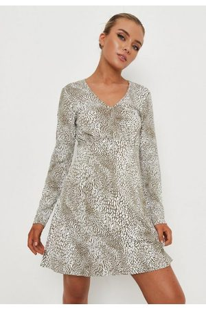 Missguided Animal Print V Neck Ruched Bust Mini Dress