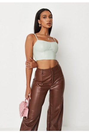 Missguided Mint Faux Leather Cami Corset Top