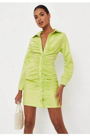 Missguided Lime Satin Ruched Front Shirt Dress