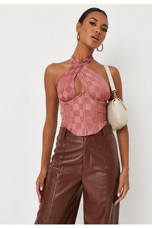 Missguided Checkerboard Ruched Halterneck Satin Corset Top