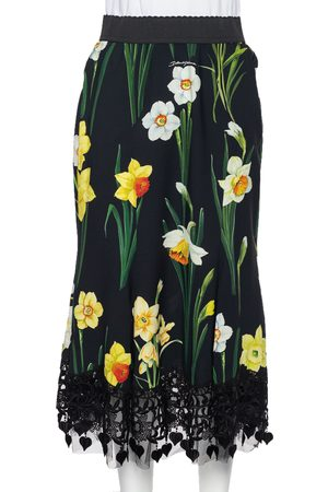 Dolce & Gabbana Floral Printed Crepe & Lace Trim Cady Skirt M