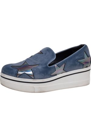 Stella McCartney Faux Leather Binx Star Slip-On Platform Sneakers Size 38