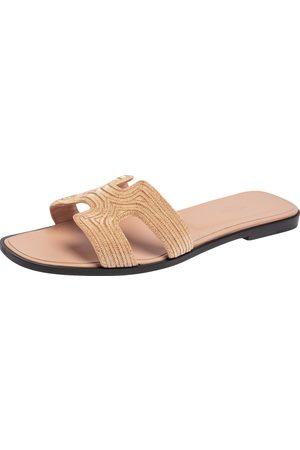 Hermès Women Sandals - Suede Embellished Oran Sandals Size 41