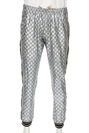 Gucci Laminated Sparkling Monogram Jersey Web Stripe Trim Detail Joggers L