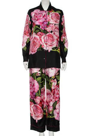 Dolce & Gabbana Women Pajamas - Rose-Print Silk Pajama Set S