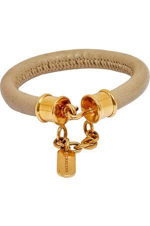 Burberry Gold Tone Leather Bracelet