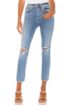 RE/DONE Women High Waisted - Originals 90s High Rise Ankle Crop in Blue.