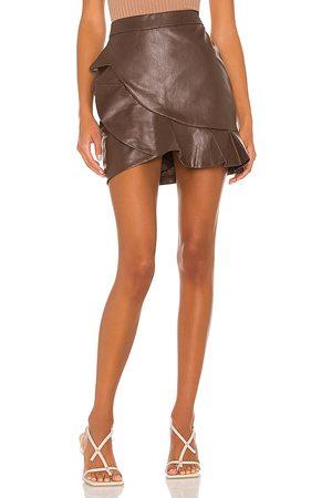 MAJORELLE Women Mini Skirts - Poseidon Mini Skirt in Chocolate.