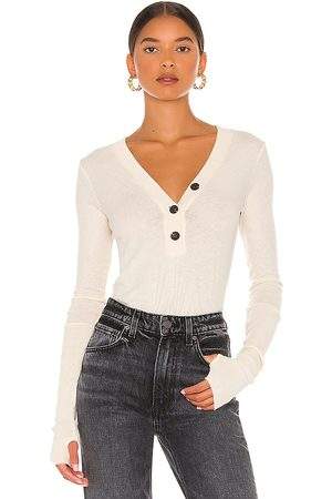 ENZA COSTA Cashmere Long Sleeve Cuffed Henley in Neutral.