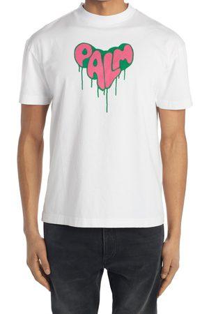 Palm Angels Men's Spray Logo Heart Cotton Tee