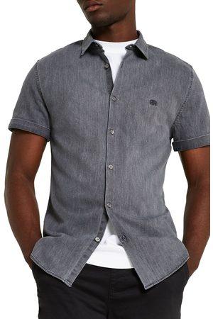 River Island Men's Rr Emblem Muscle Fit Short Sleeve Button-Up Denim Shirt