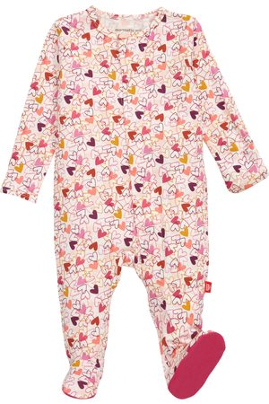 Magnetic Me Infant Girl's Heart To Heart Print Footie
