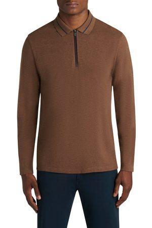 Bugatchi Men's Tip Long Sleeve Cotton Pique Zip Polo