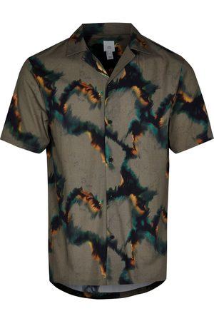 River Island Men's Camo Short Sleeve Button-Up Camp Shirt