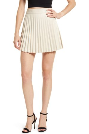 Lulus Women's Better Luck Next Time Pleated Faux Leather Miniskirt