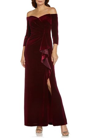 Adrianna Papell Off-the-Shoulder Velvet Gown