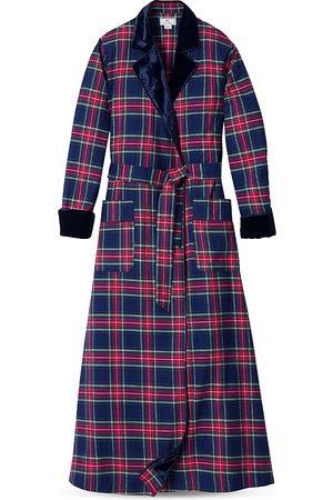 Petite Plume Velvet Trim Long Windsor Tartan Flannel Robe