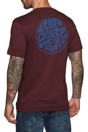Rip Curl Wettie Essential s Short Sleeve T-Shirt - Maroon