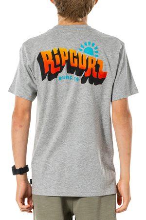 Rip Curl Wavey Logo Boys Short Sleeve T-Shirt - Grey Marle