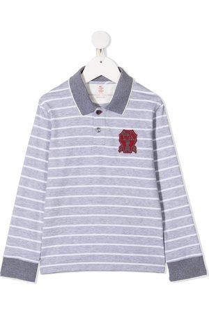Brunello Cucinelli Boys Polo Shirts - Stripe polo shirt - Grey