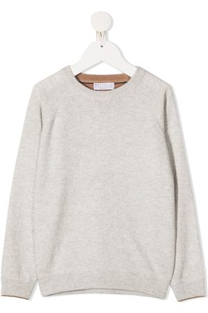 Brunello Cucinelli Boys Long sleeves - Long sleeve ribbed knit sweater - Neutrals