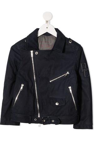 Brunello Cucinelli Boys Bomber Jackets - Logo-patch biker jacket