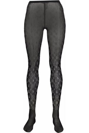 Philipp Plein Women Stockings - Embellished monogram-print tights
