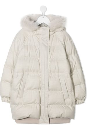 Brunello Cucinelli Girls Puffer Jackets - Padded jacket with faux fur trim - Neutrals