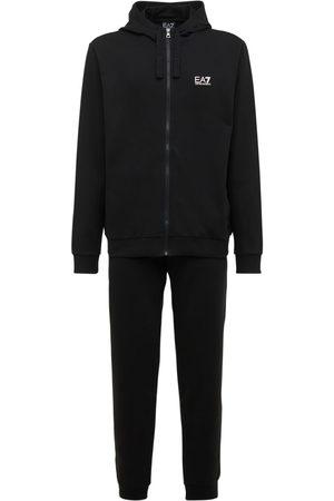 EA7 Logo Printed Cotton Sweat Suit