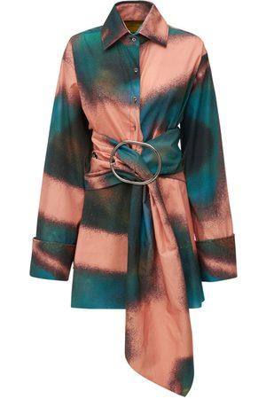 MARQUES'ALMEIDA Printed Cotton Shirt Dress W/ Belt