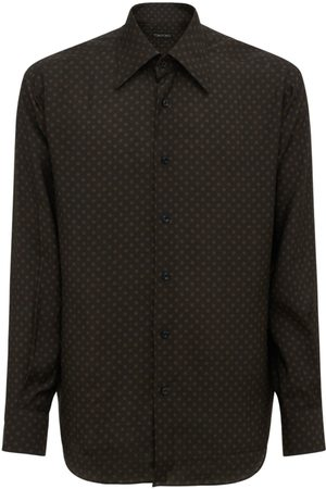 Tom Ford Men Shirts - Small Dot Print Rayon & Silk Shirt