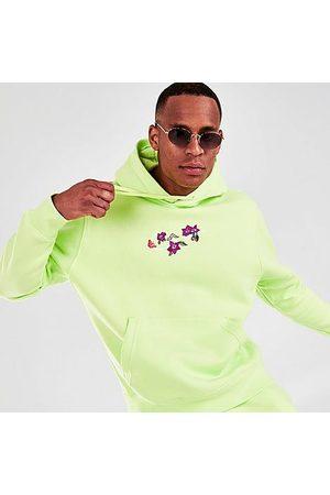 Nike Men Hoodies - Men's Sportswear Club Logo Twist Fleece Pullover Hoodie in Green/Light Lemon Twist Size Small Cotton/Polyester/Fleece