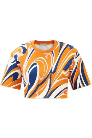 Emilio Pucci Women T-shirts - Vortici-print Cotton-jersey Cropped T-shirt - Womens - Navy Print