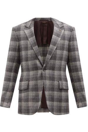 Ermenegildo Zegna Men Blazers - Single-breasted Check Cashmere-madras Blazer - Mens - Grey Multi